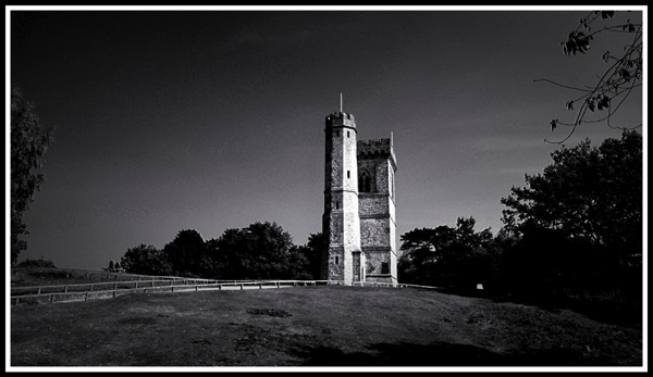 A landscape shot of the Leith hill tower in the centre