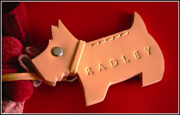 A photo of the radley dog tleather tay lay on top of a bright red handbag