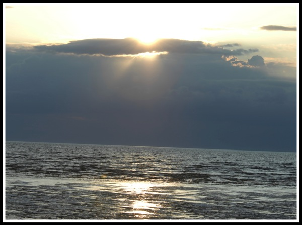 Sunset  on hunstanton beach