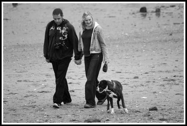 Me, Sarah & Bruce walking along the beach