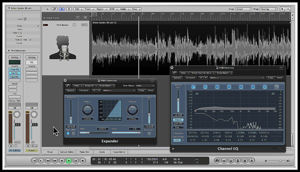 A screenshot of a interview i'm working on in Logic Pro, with the Channel EQ & Expander plugin's visible