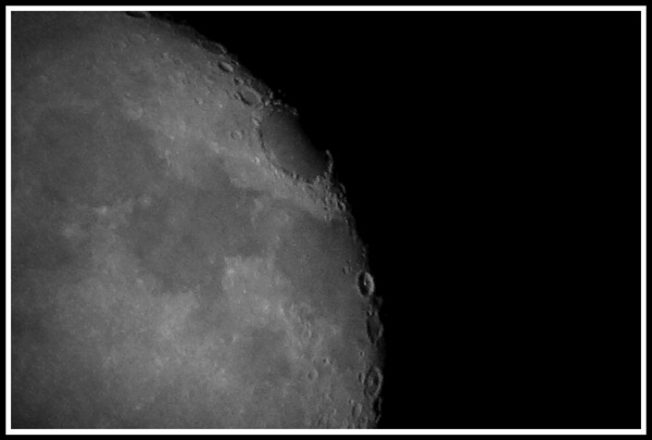 vintage greyscale effect on the north east side of the moon