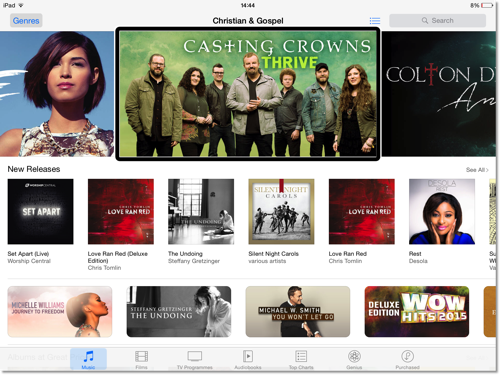 A screenshot taken from my iPad of Christian  Gospel iTunes