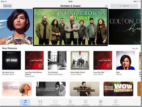 A screenshot taken from my iPad of Christian  Gospel iTunes