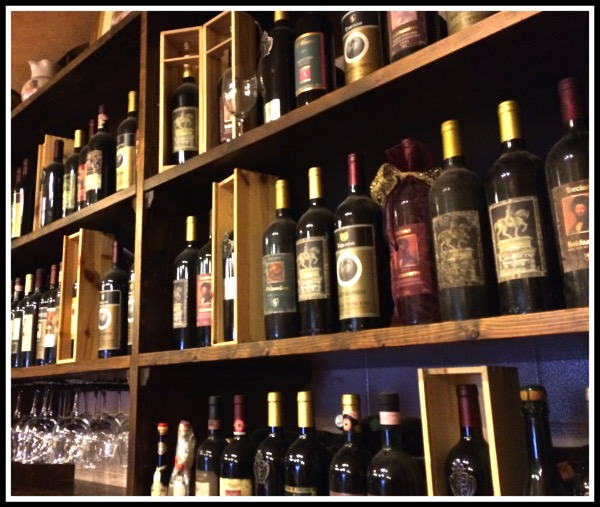 Chianti Bottles on a shelf