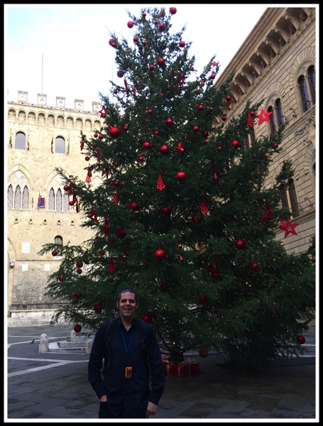 Me stood in front of the Siena Christmas Tree