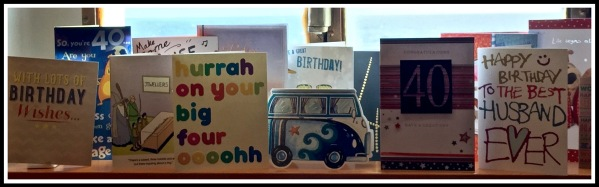 A close up photo of my 40th birthday cards