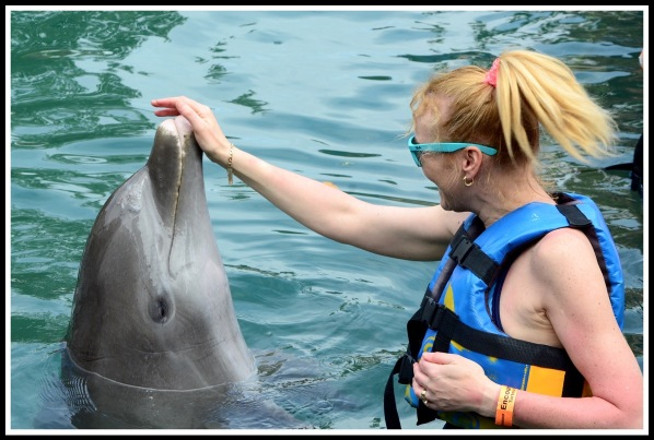 Sarah on the right touching the dolphins nose