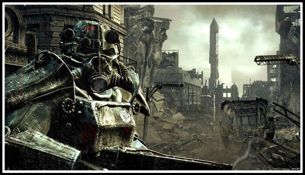 A screenshot of a Brotherhood of Steel member in power armour stood in a apocalyptic background