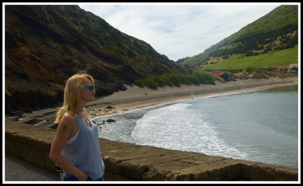 Sarah in Awe at Horta bay