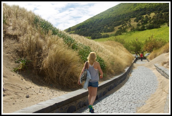 Sarah walking around Horta hill