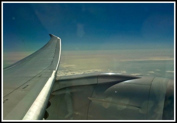 A view from the airplane with the wing in view
