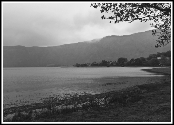 A black and white photo of a lake in Sao Miguel