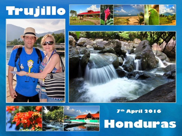 A postcard of me and sarah with lots of little photos of Trujillo surrounding us in a blue postcard