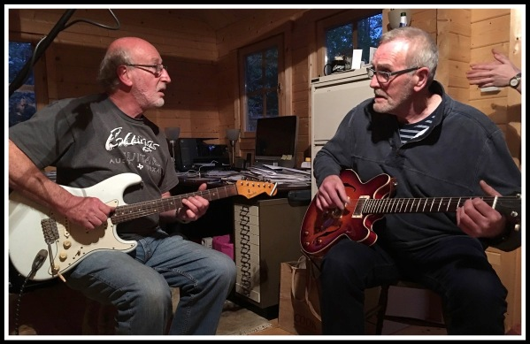 Phil on the left jammin with Sarah s Dad Steve on the right
