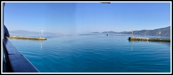 A Sarah Panorama of the end of the canal where it expands into the vastness of the sea, with land touching each side