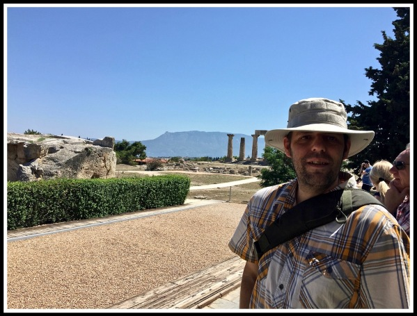 Me stood in front of the ancient Temple of Apollo wearing my tactical sun hat