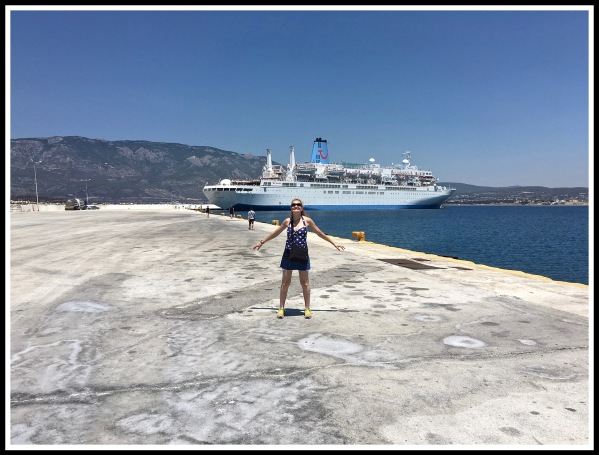 Sarah stood in front of the Thomson Spirit ship