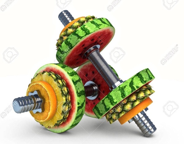 Two dumbbells made of fruit