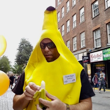 Me in a Banana suit eating a banana