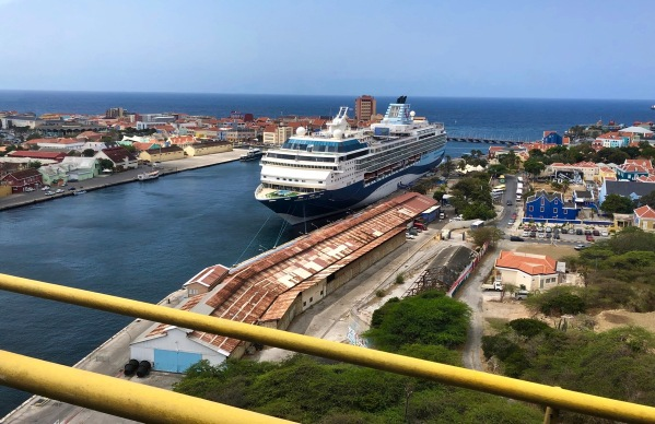 Our ship in the dock looking down from the bridge with the surrounding town