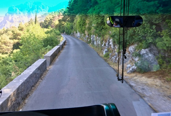 A photo of the narrow road taken from our front seats on the coach