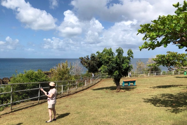 Landscape shot of the island shore line with a steel fence arond
