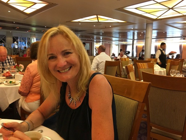 Lovely wife Sarah whilst having our last evening meal on the ship