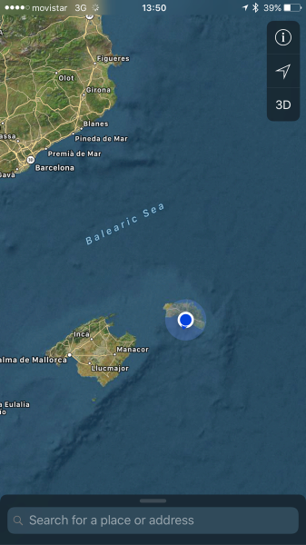 Map on the iphone of a GPS location in Minorca
