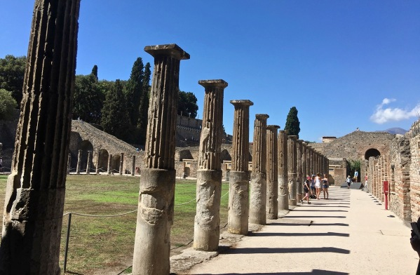 Long line of ancient pillars