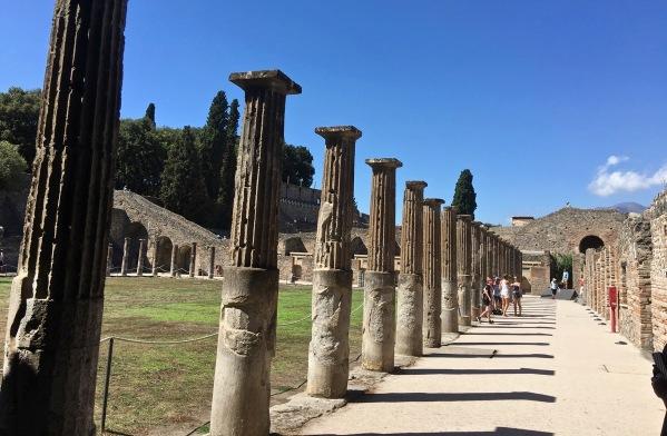 Long line of ancient pillars