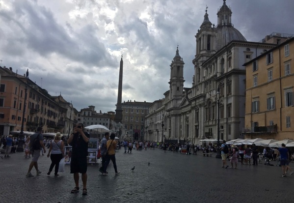main square in Rome looking cloudy and raining