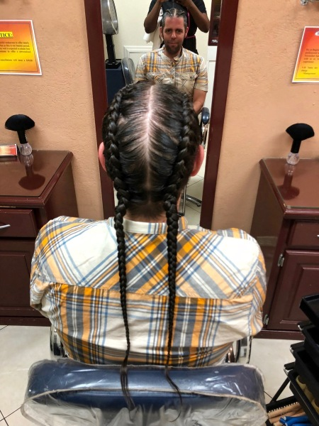 photo of my braides from the back taken by the lady who did them