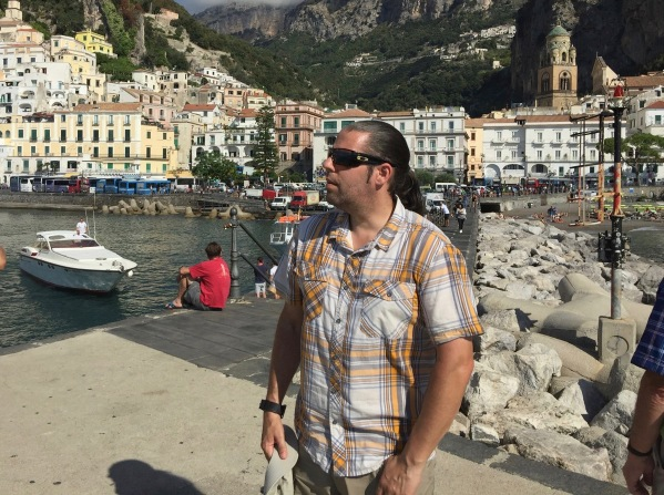 Me looking out to sea aurrounded by the Amalfi town