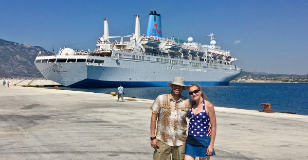 Sarah & i in front of the Thomson Spirit in the background