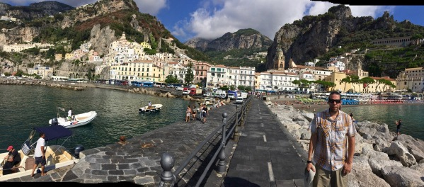 Sarah panorama of the Amalfi sea, road and mountains in the background