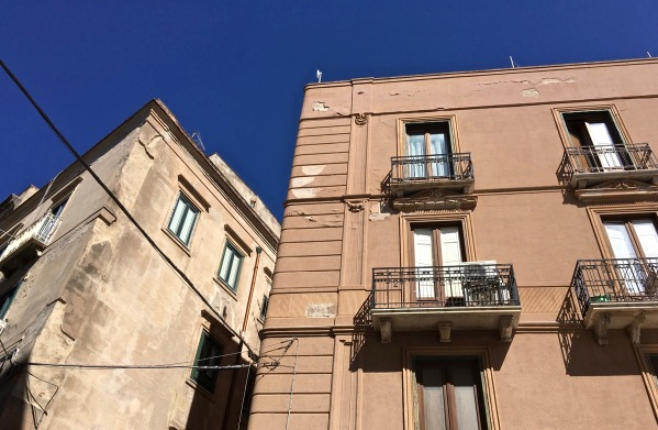 stunning buildings at the top of the cable cars in Trapini, Sicily