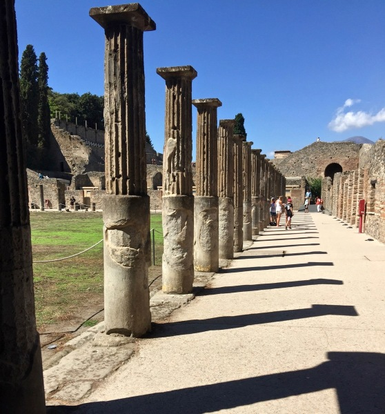 The ancient town and a line of pillars
