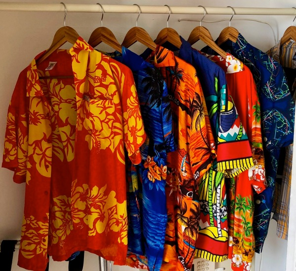All of my Caribbean shirts in a row in my wardrobe in room 112