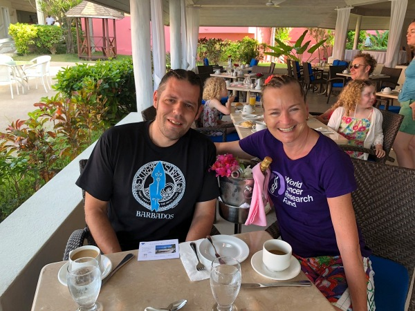 Me and Sarah at breakfast in Barbados
