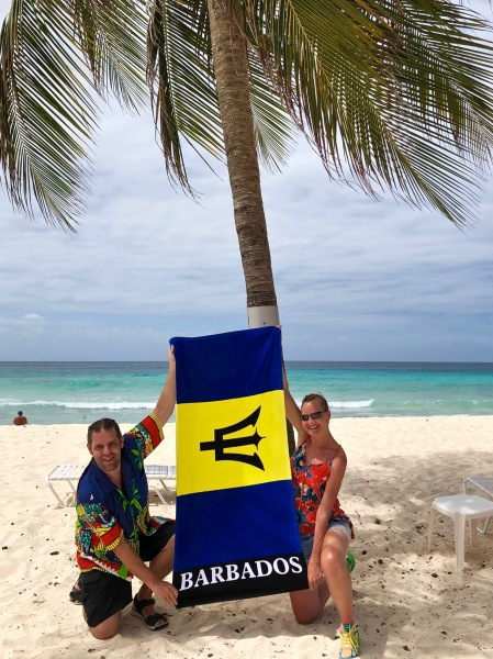 Me and Sarah with Barbados towel