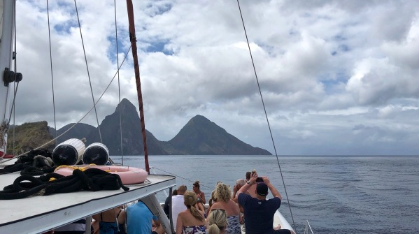 View from our boat of the Pitons