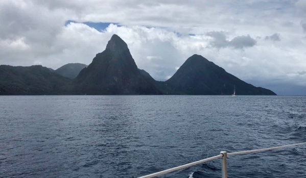 view of the Pitons from our boat