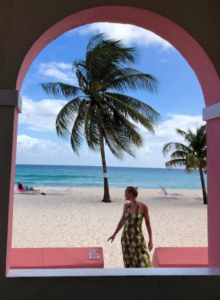 Sarah and the green dress on Dover beach in Barbados