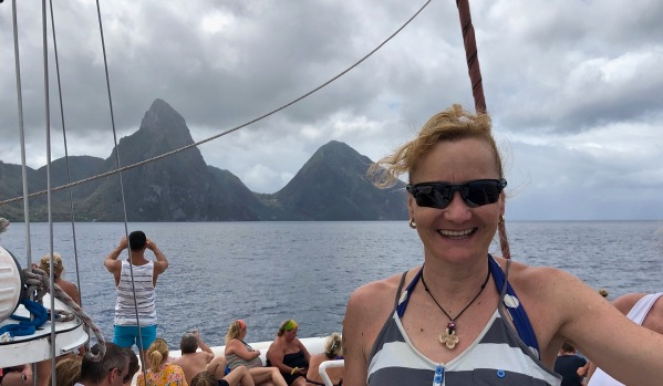 View from our boat of the Pitons with Sarah in front
