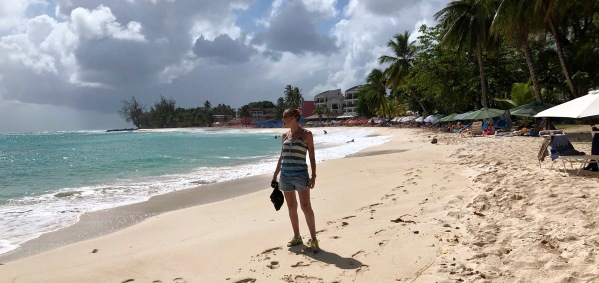 Sarah stood on Dover beach in Barbados