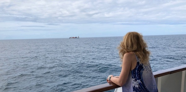 Sarah stood on the deck looking out to sea with a cargo ship in the far distance