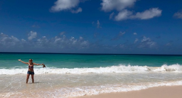 Sarah on Dover beach in Barbados