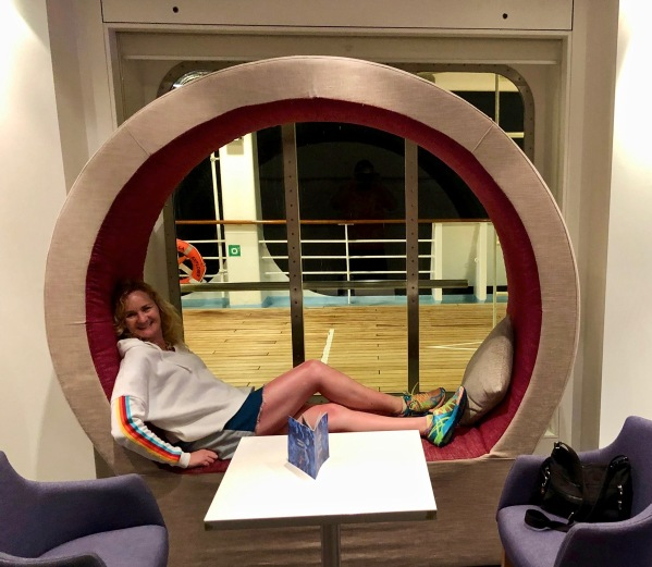 Sarah relaxing on a cool circle seat thingy
