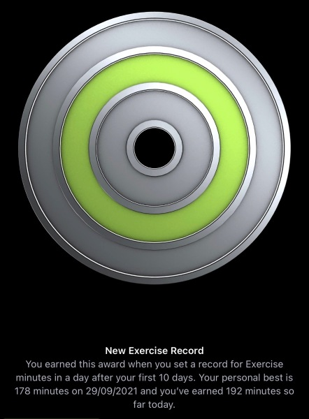 New Exercise Record 29 Sept 2021